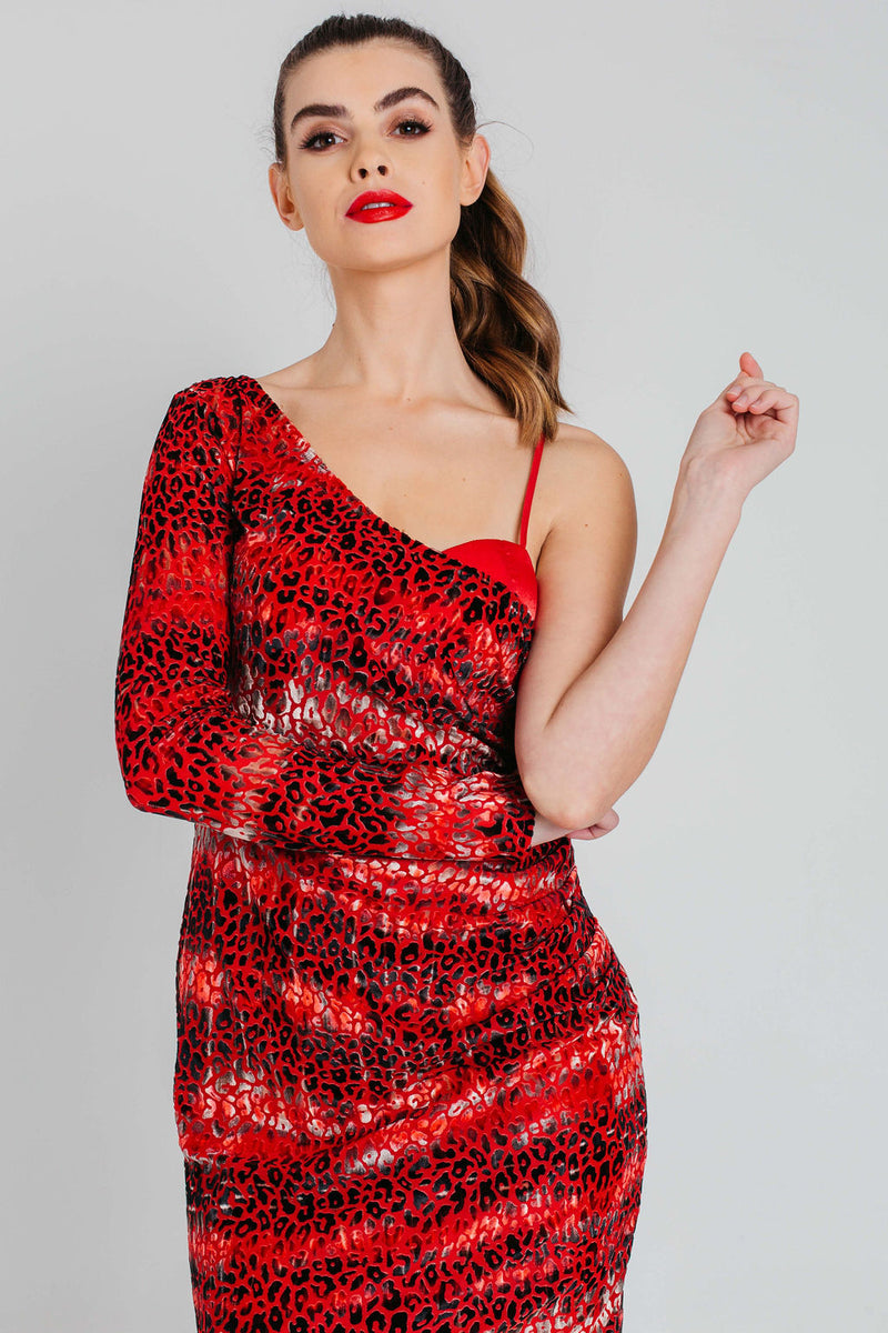 Velvet Burnout Draped One Shoulder Mini Dress in Red Leopard