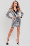 Silver Sequin Long Sleeve Blazer