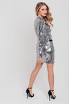 Silver Sequin and Black Satin Mini Skirt