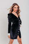 Black Velvet with Diamond Button Long Sleeve Blazer Dress