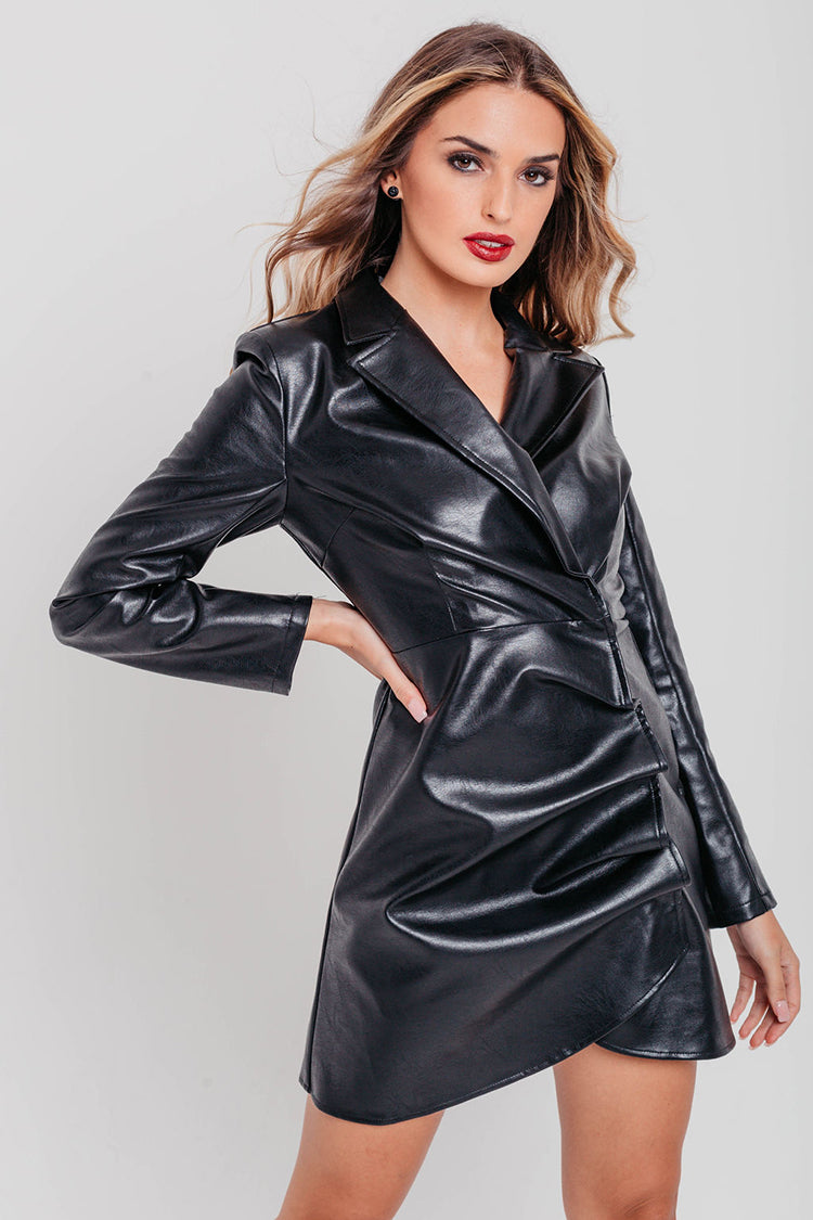 Black Faux Leather Long Sleeve Pleats Blazer Dress