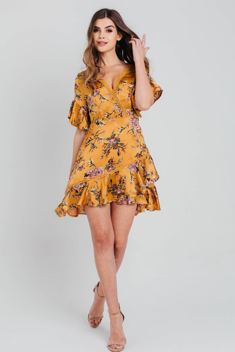 Mustard Satin Wrap Floral Ruffle Mini Dress