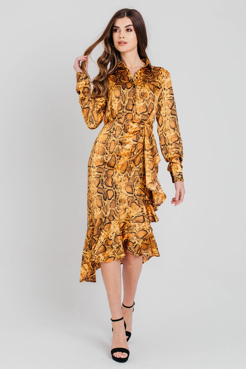 Gold Snake Print Midi Shirt Dress
