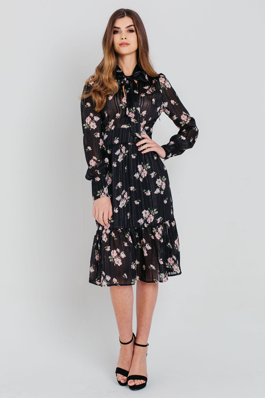 Black Floral Chiffon Tie Neck Shirt Dress