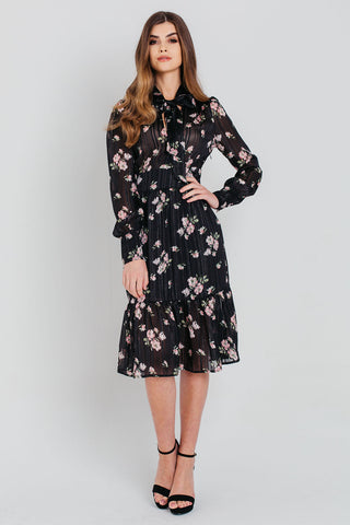 Black Ditsy Floral Wrap Midi Shirt Dress