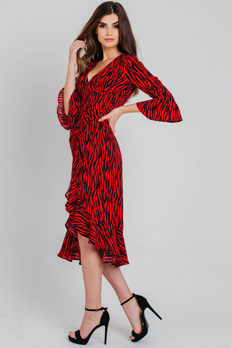 Red Animal Print Ruffle Midi Dress