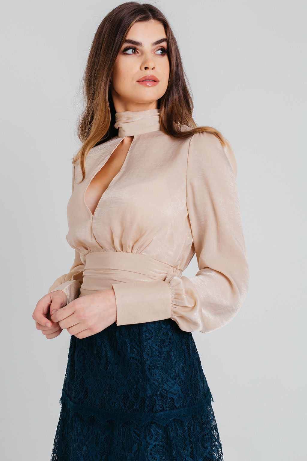 Champagne Satin High Neck Top