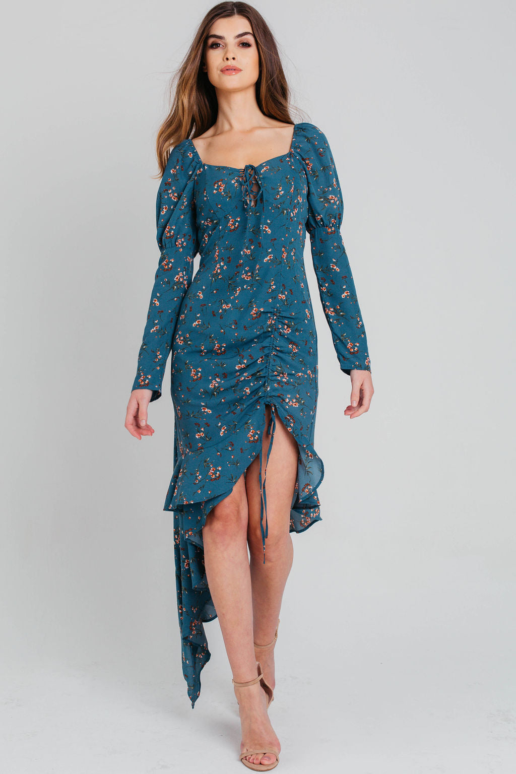 Blue Floral Ruched Puff Sleeve Asymmetric Dress