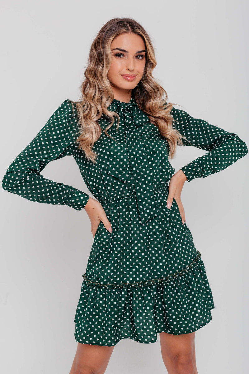 Khaki Polka Dot Pussy Bow Puff Sleeve Frilled Skater Dress