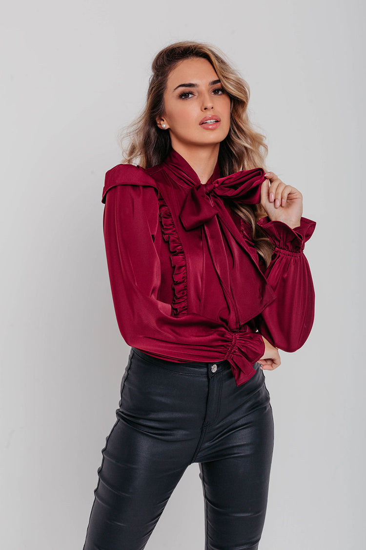 Burgundy Satin Pussybow Long Sleeve Blouse