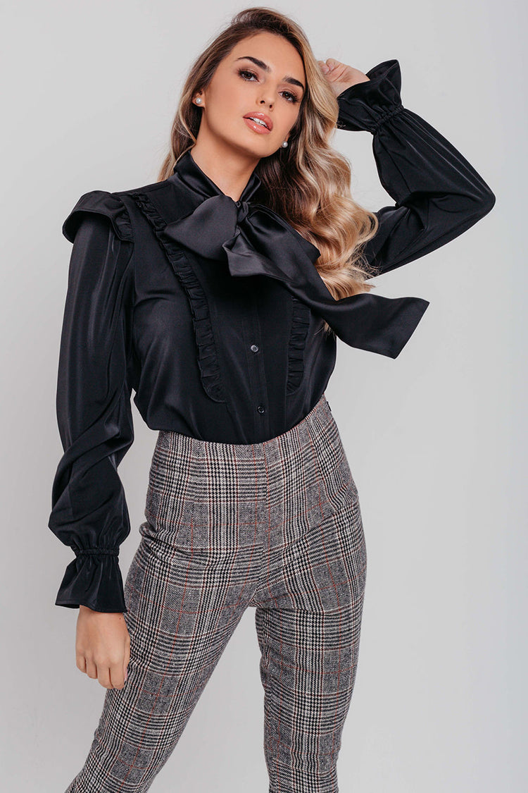 Black Satin Pussybow Long Sleeve Blouse