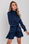 Navy Ruffle Binding Detail Satin Shirt Dress