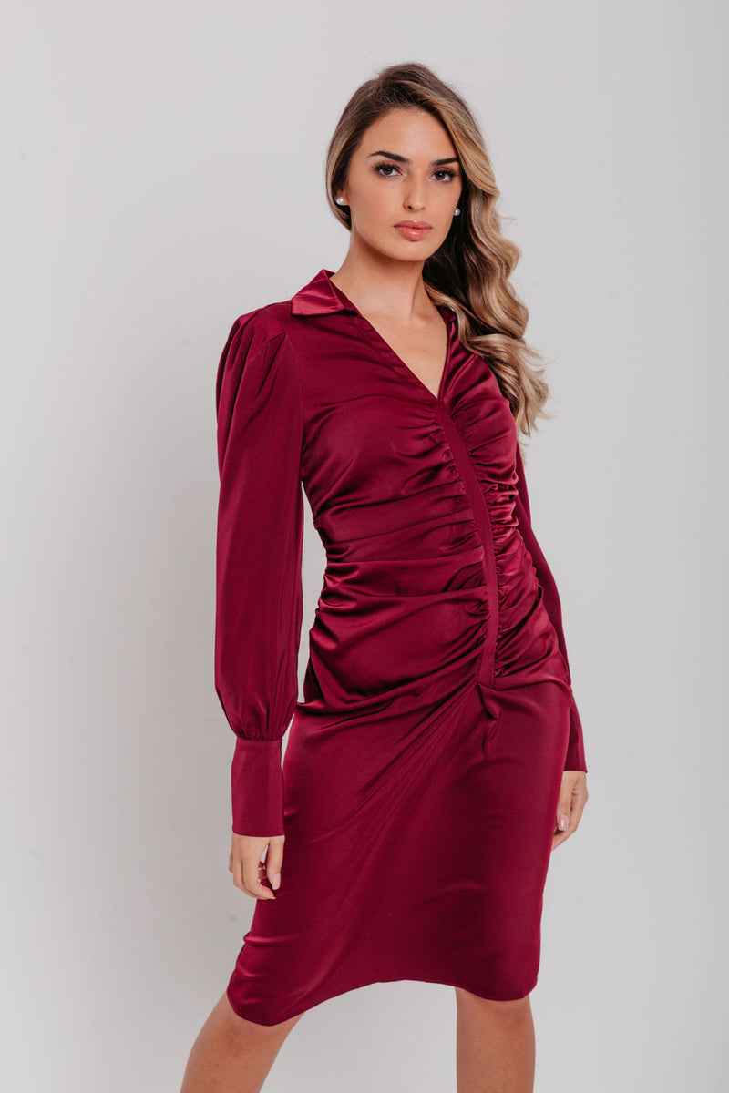Wine Satin Ruched Details Fitted Shirt Dress
