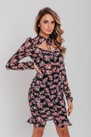 Rose Sweetheart Neck Puff Sleeves Ruched Bodycon Dress