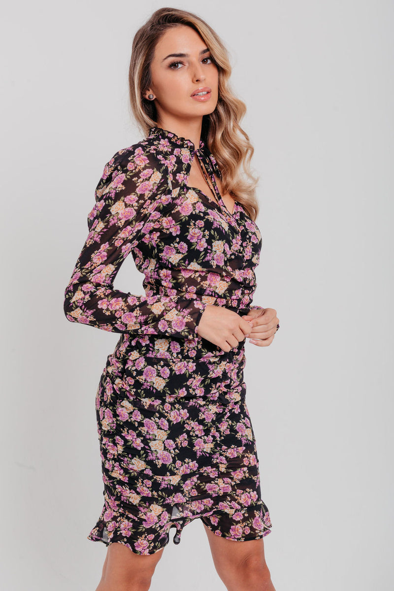 Black Floral Print Tie Neck Puff Sleeve Ruched Bodycon Dress