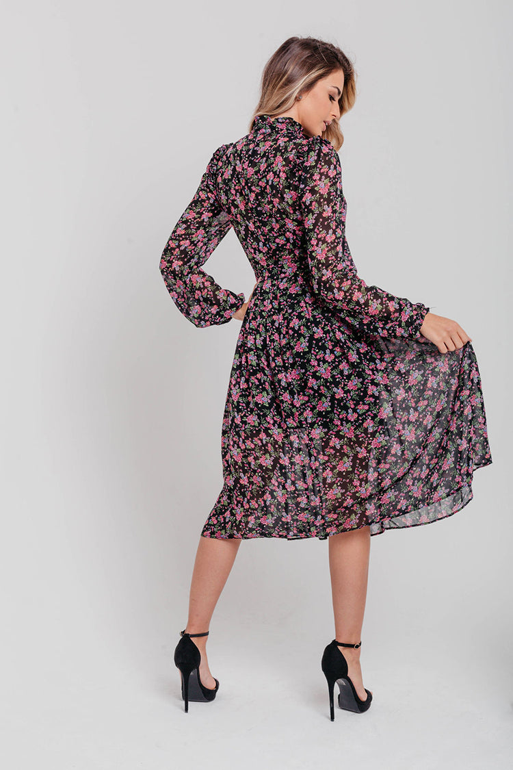 Black and Purple Floral Pleated Midi Dress