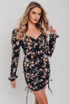 Black Floral Ruched Details Bodycon Dress