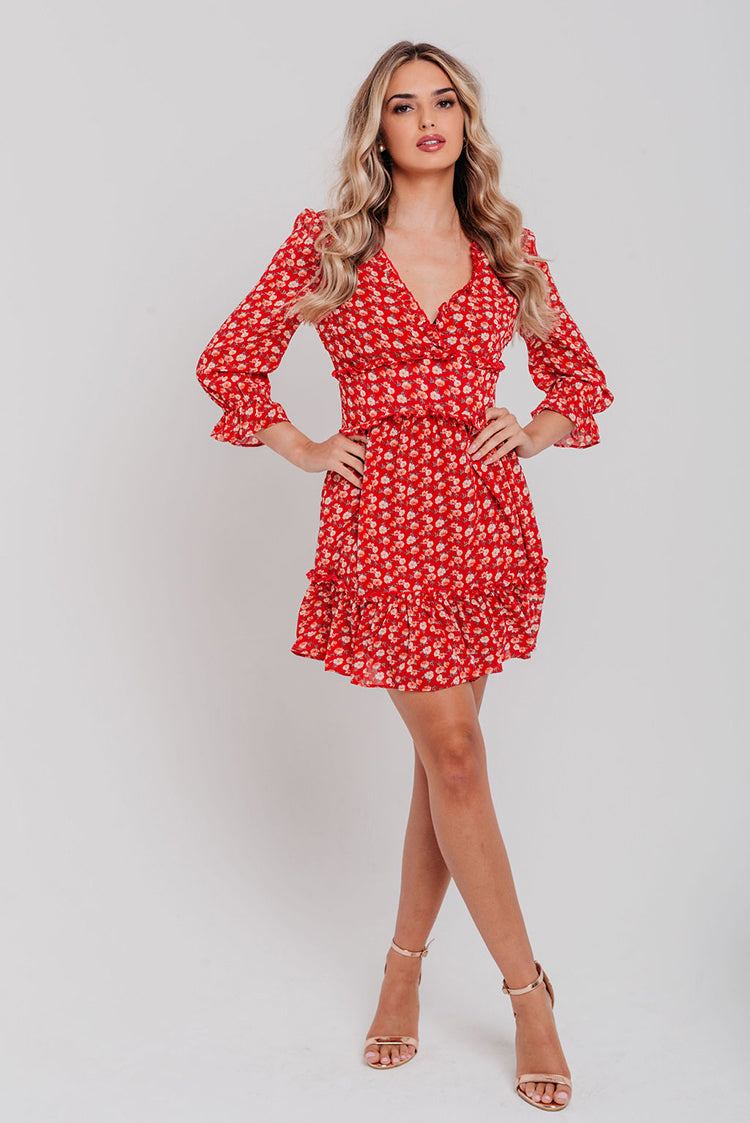 Red Floral Fill Detail Wrap Skater Dress