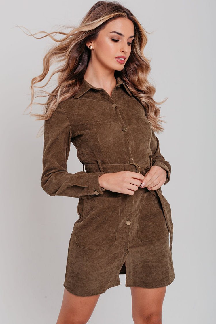 Khaki Cord Tie Waist Shirt Dress