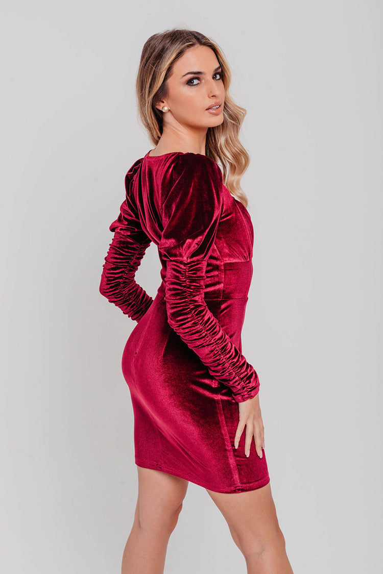Burgundy Velvet Ruched Long Sleeve V Neck Bodycon Dress