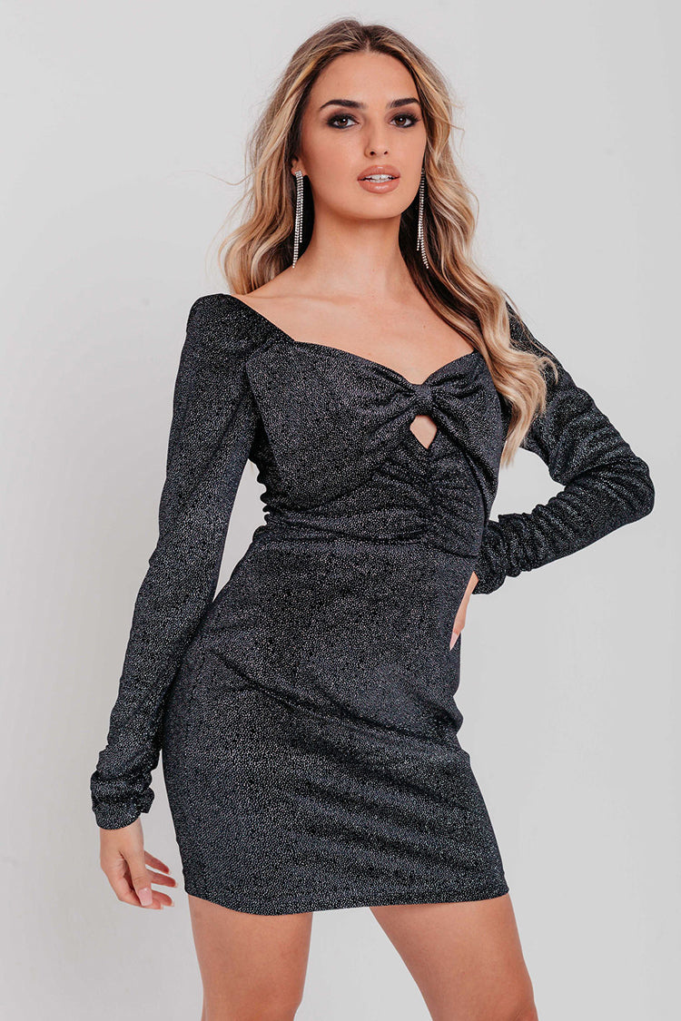 Black Sparkle Velvet Sweetheart Bow Tie Detail Bodycon Dress