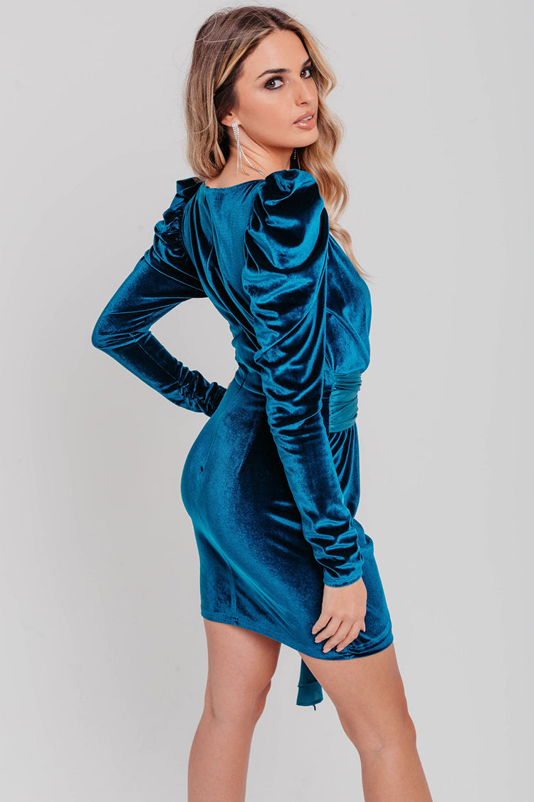 Emerald Green Velvet Embellished Belted Bodycon Dress