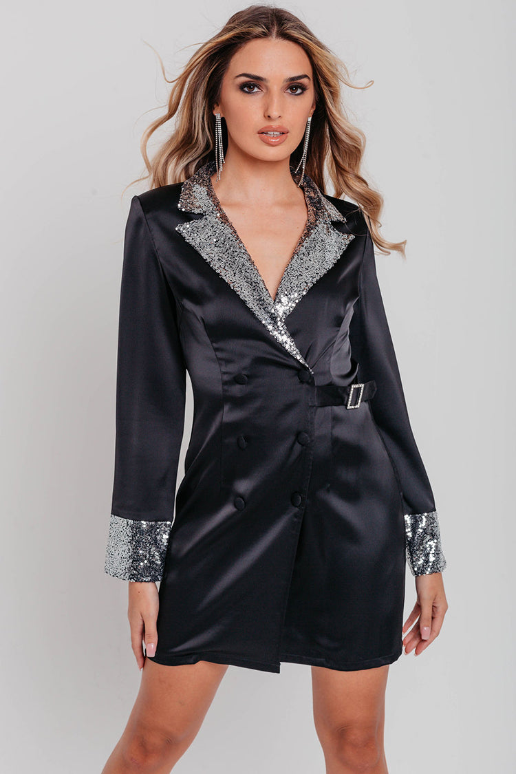 Black Satin Silver Sequin Detail Blazer Dress