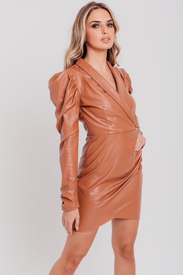 Tan Faux Leather Plunge Wrap Dress