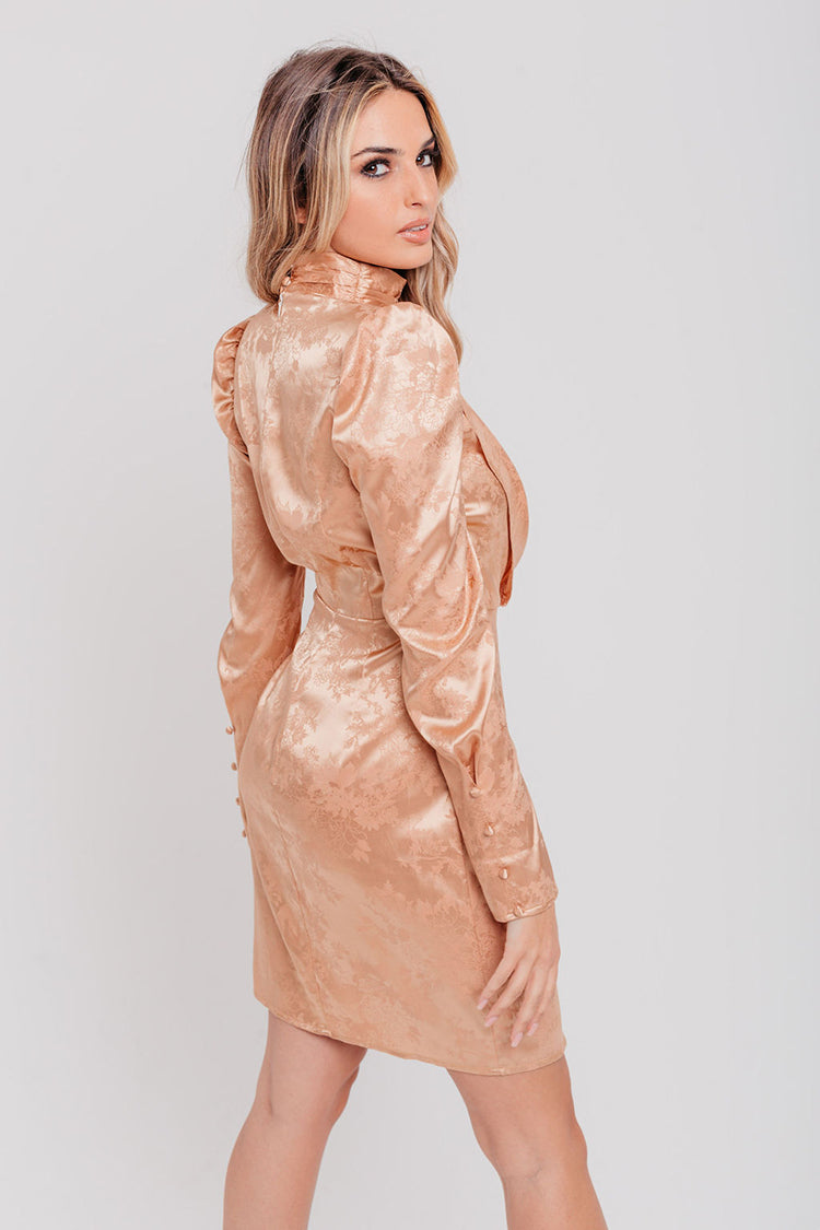 Champagne Jacquard Satin Wrap Mini Dress
