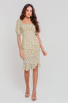 White Ditsy Floral Sweetheart Neck Ruched Bodycon Dress