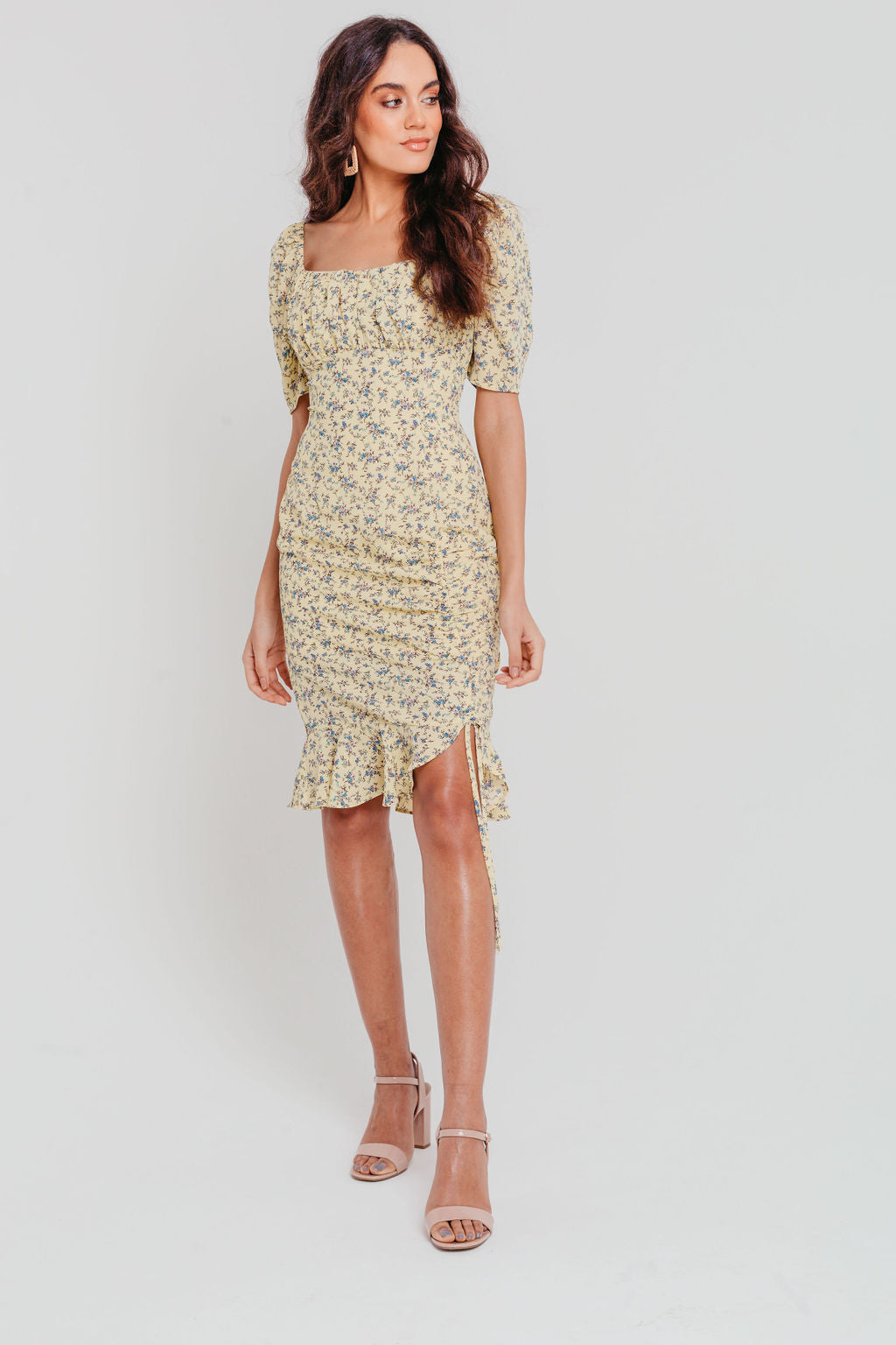 Yellow Ditsy Floral Ruched Bodycon Mini Dress