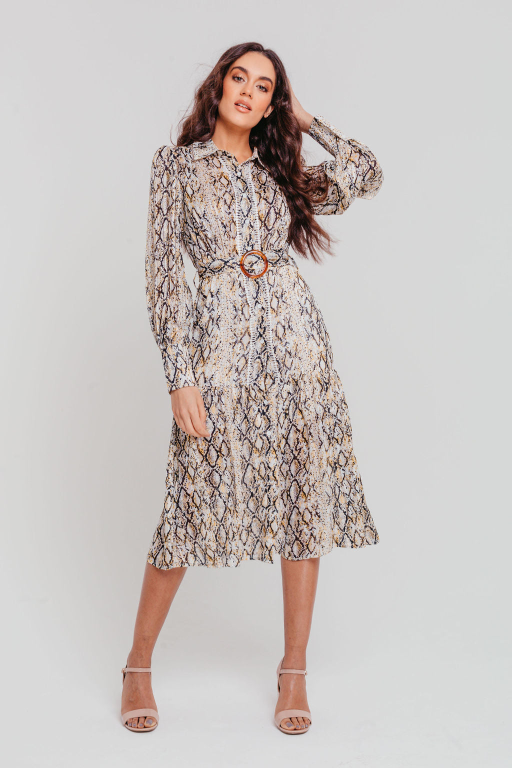 Yellow Snakeskin Chiffon Belted Midi Shirt Dress