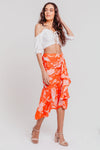 Red Tropical Floral Gathered Ruffle Hem Midi Skirt