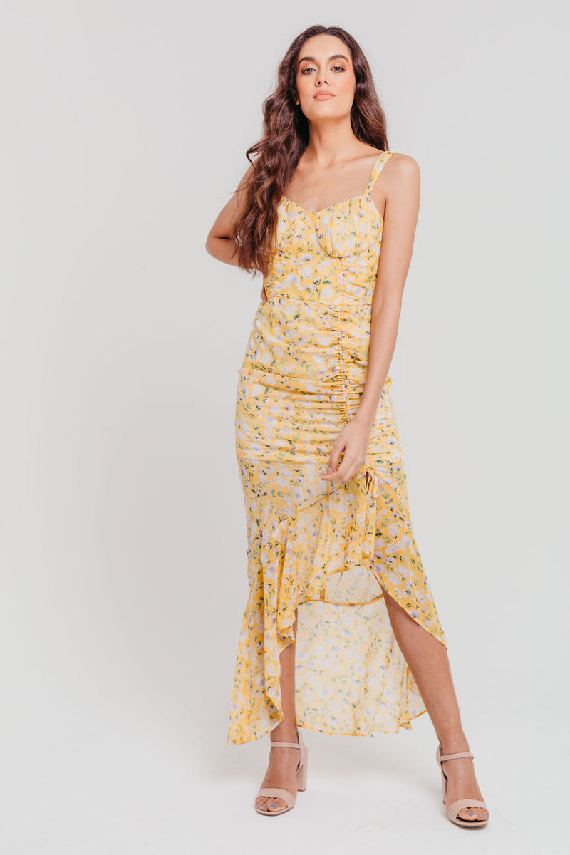 Yellow Floral Chiffon Strappy Gathered Fitted Max Dress
