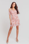 Pink Floral Strappy Off Shoulder Ruched Fitted Dress