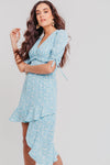 Blue Ditsy Floral Asymmetric Tea Dress