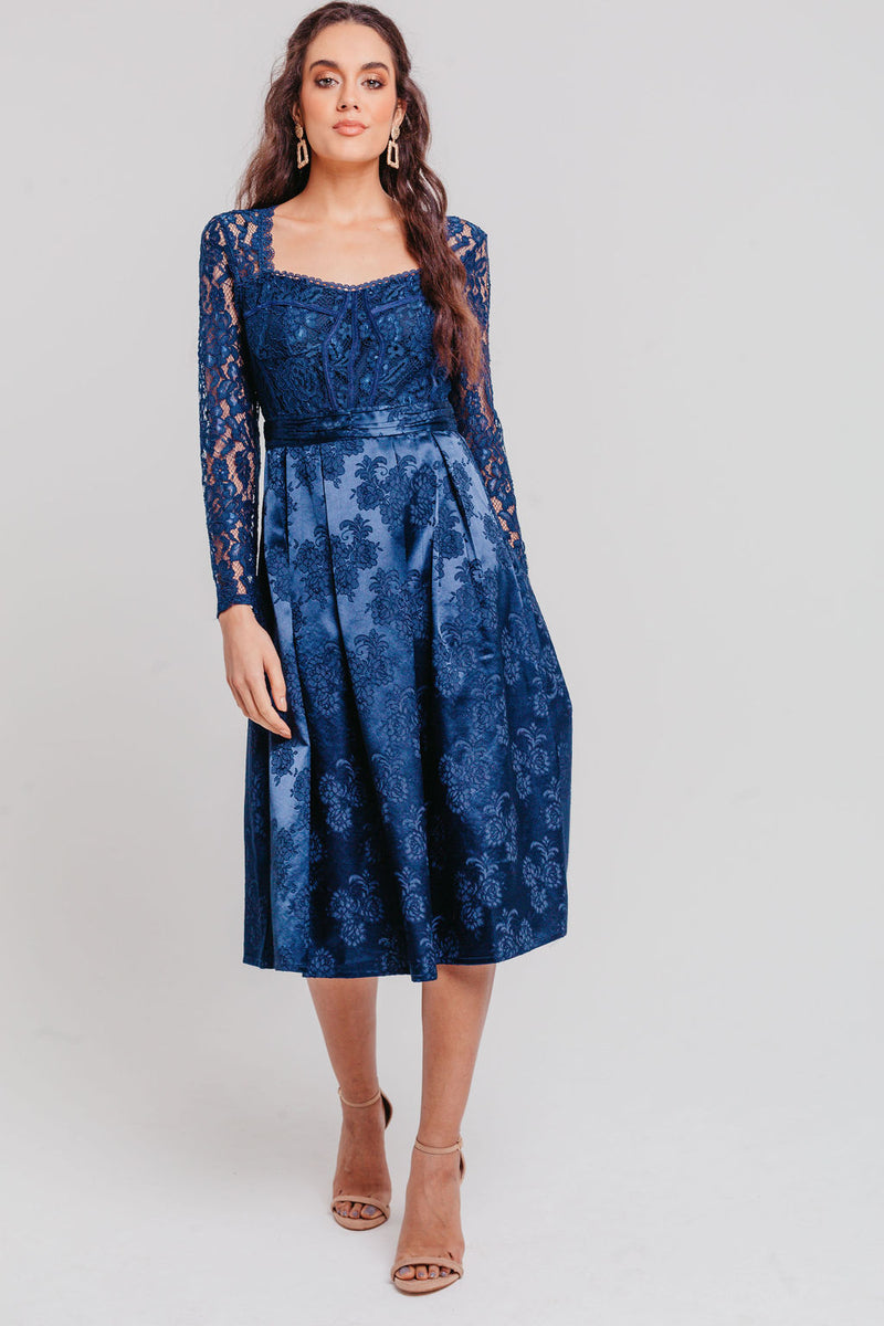 Navy Sweetheart Lace Fit And Flare Midi Dress