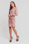 Pink Polka Dot Ruched Long Sleeves Bodycon Dress