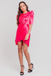 Pink Mix And Match Floral Bodycon Dress With Ruched Details