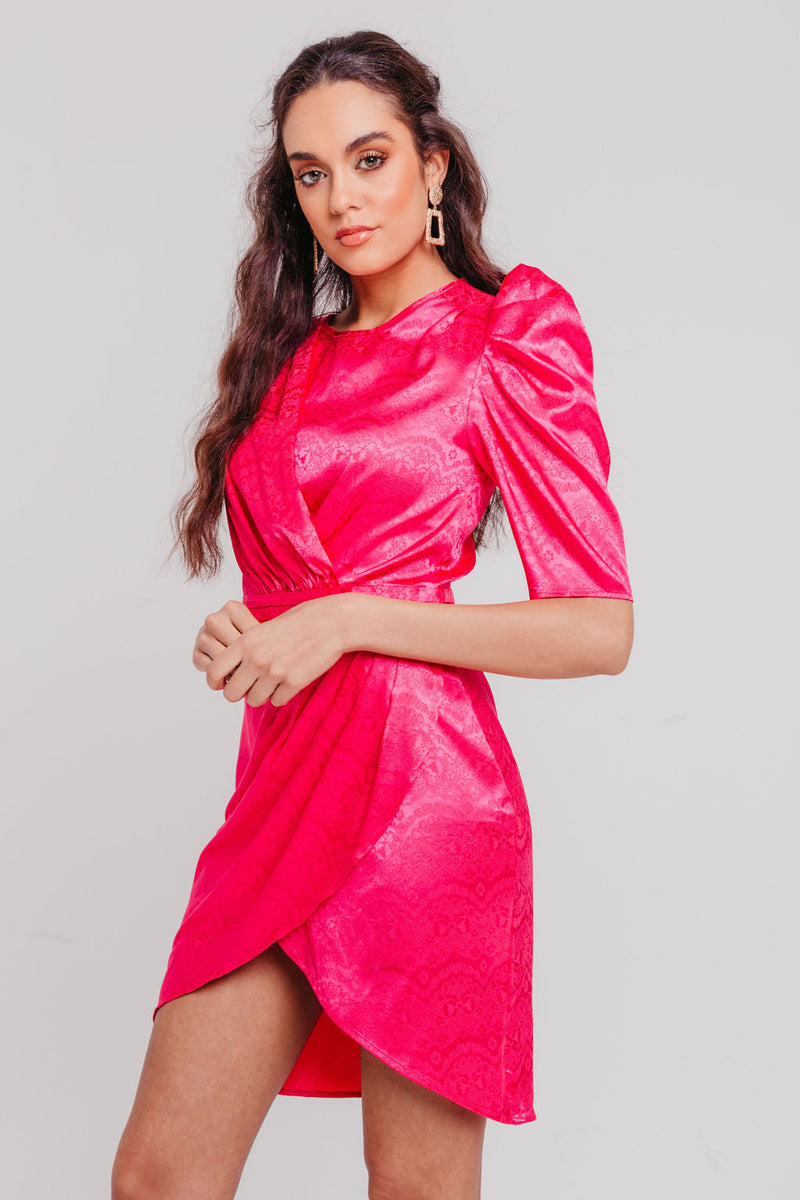Fushia Jacquard Satin Puff Sleeves Wrap Mini Dress