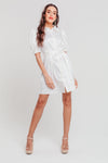 White Jacquard Balloon Sleeve Tea Dress