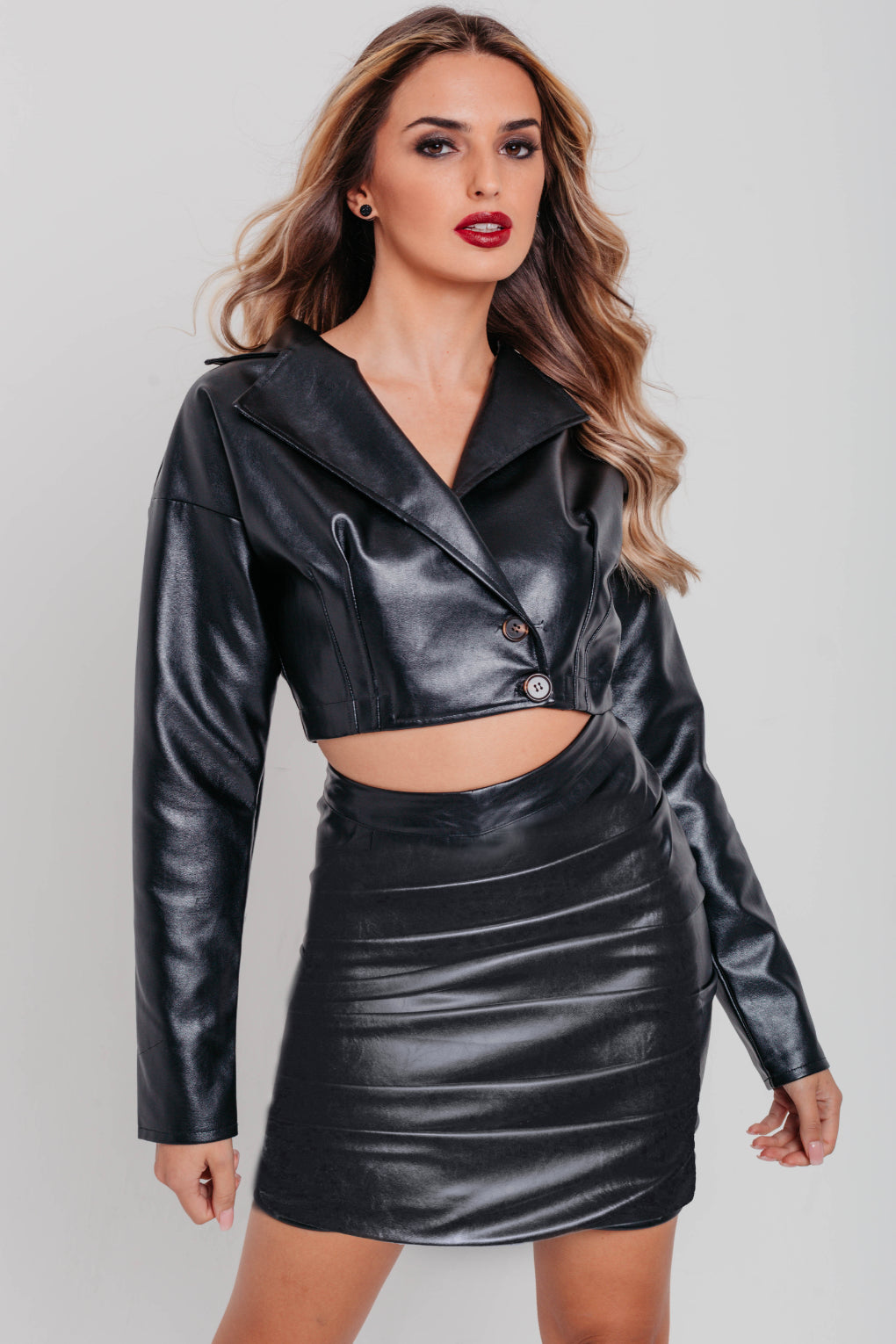 Black Faux Leather Pleats Front Mini Skirt
