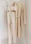 Sand Rib Knit Bralet with Legging and Longline Cardigan 3 Pieces Lounge Set