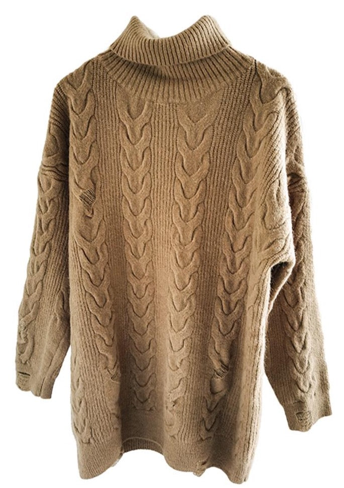 Camel High Neck Oversize Longline Jumper