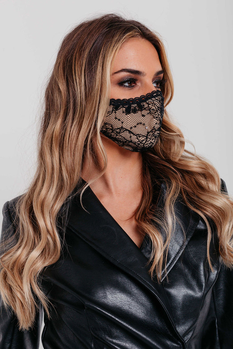 2 Pack Face Covering of Black Lace and Brown Satin