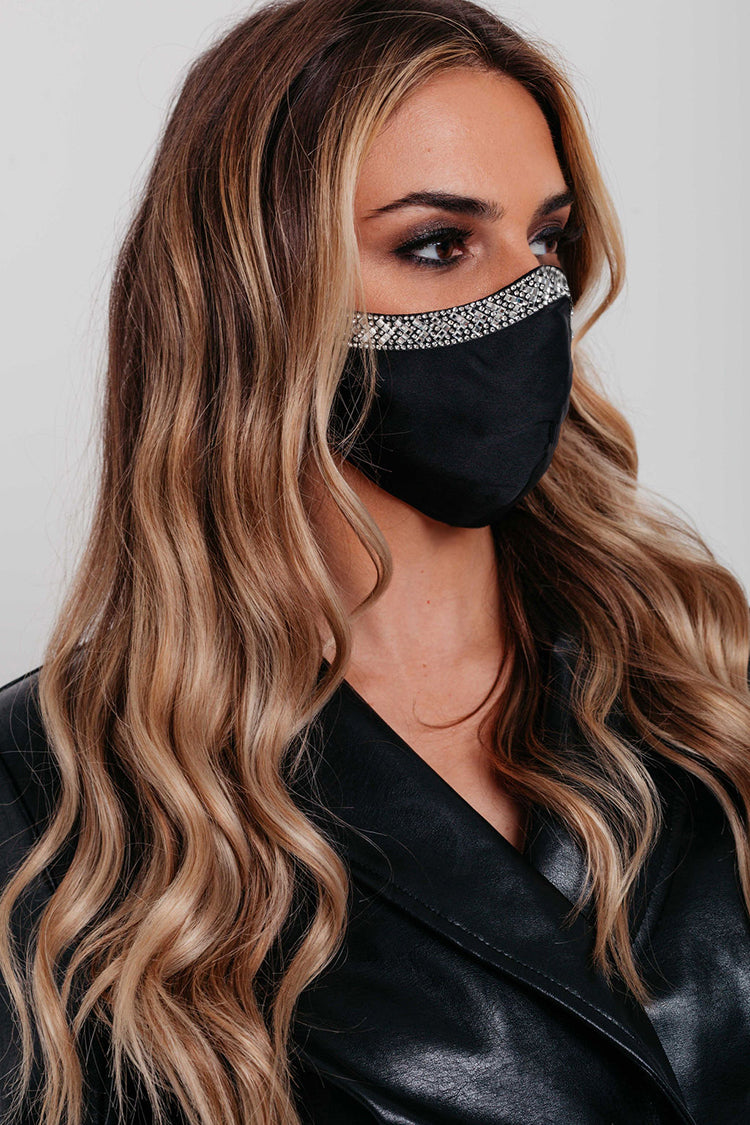 Black Satin with Diamond Decorate Face Covering