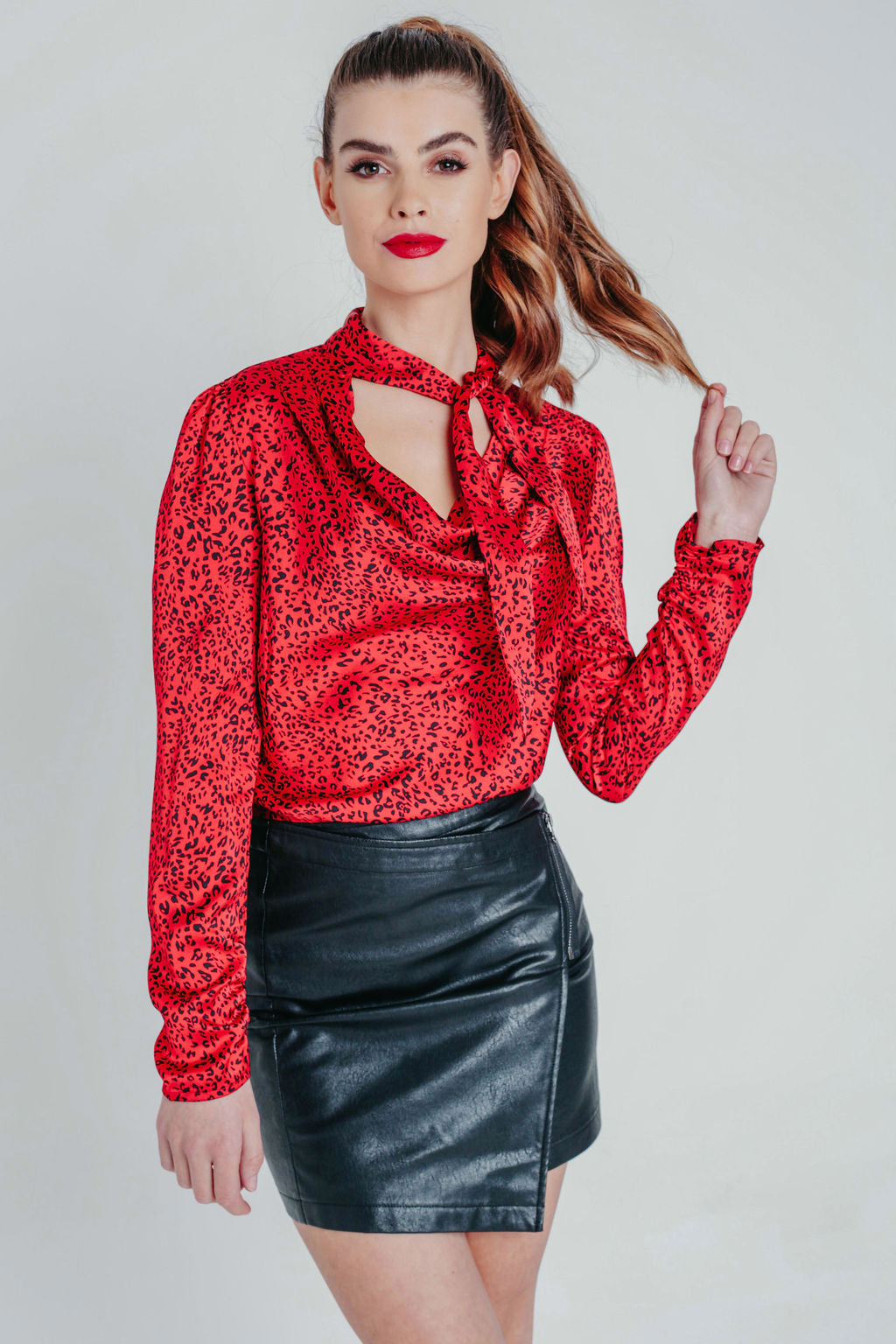 Red Satin Cowl Neck Animal Print Blouse
