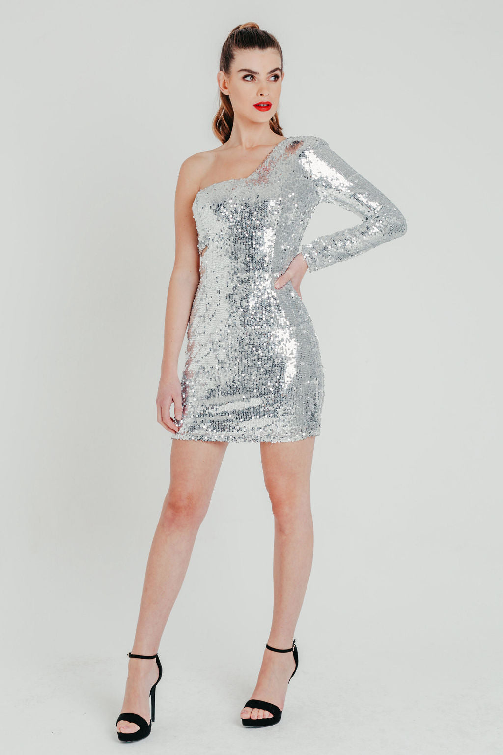 Silver Sequin One Shoulder Bodycon Mini Dress