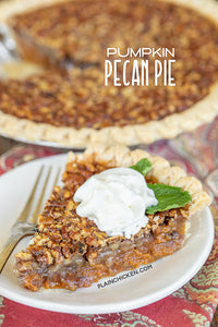 Pumpkin Pecan Pie Recipe Pumpkin Pecan Pie - two favorites in one pie! Pumpkin pie on the bottom and pecan pie on top