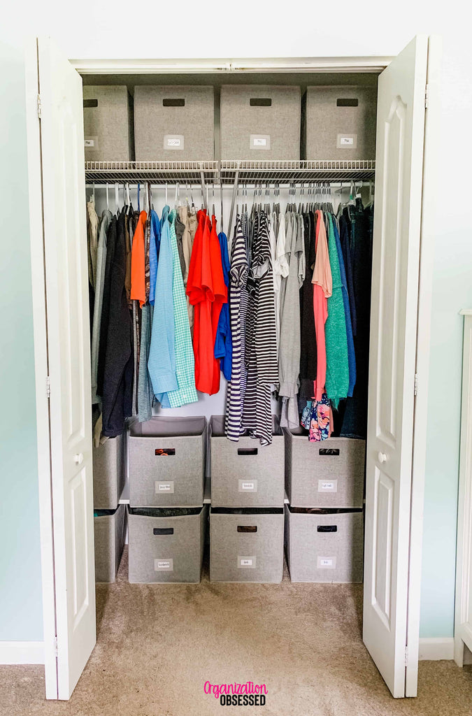Organizing our small bedroom closet has always been one of my least favorite chores in our home